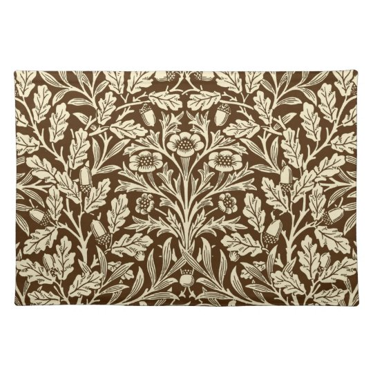 Art Nouveau Floral Damask, Dark Brown and Beige