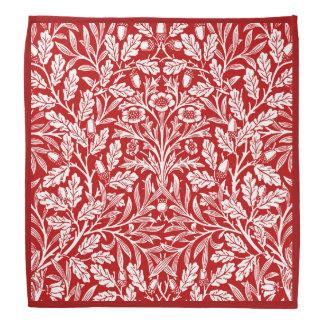 Art Nouveau Floral Damask, Dark Red and White Bandana