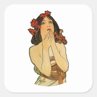 Art Nouveau Floral Lady Cutout Square Sticker