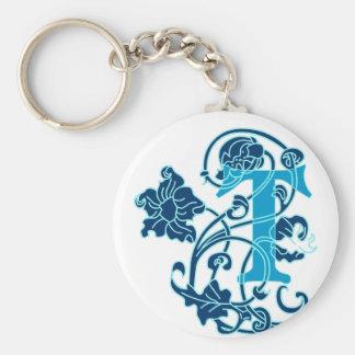 Art Nouveau Floral Monogram T Basic Round Button Key Ring