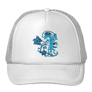 Art Nouveau Floral Monogram T Hats