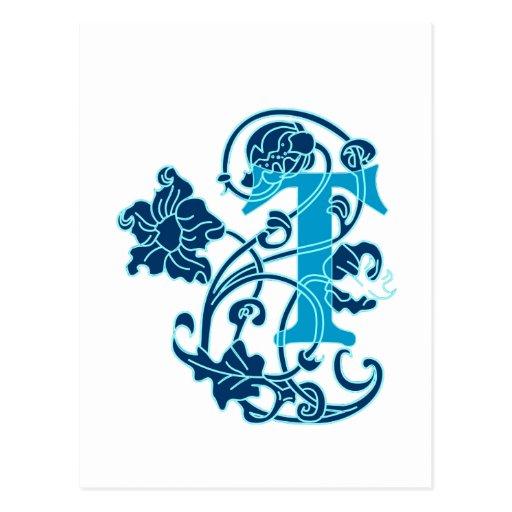 Art Nouveau Floral Monogram T Post Cards