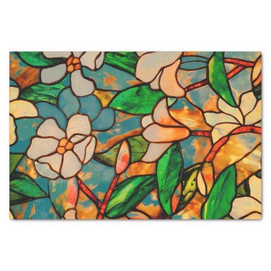 Art Nouveau Floral Stained Glass Tissue Paper