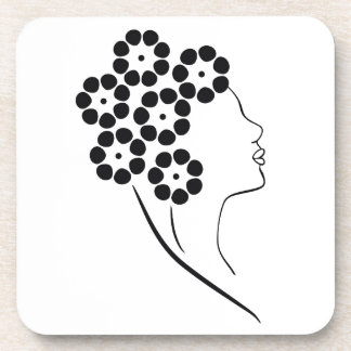 Art Nouveau Flower Girl Drink Coaster