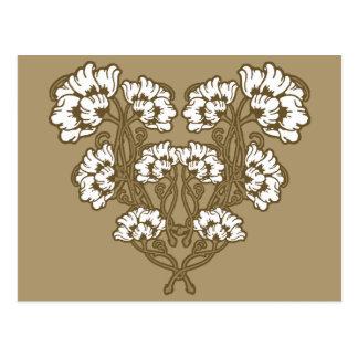 Art Nouveau Flower Heart Tan Postcard