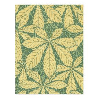 art nouveau foliage leaves design postcard