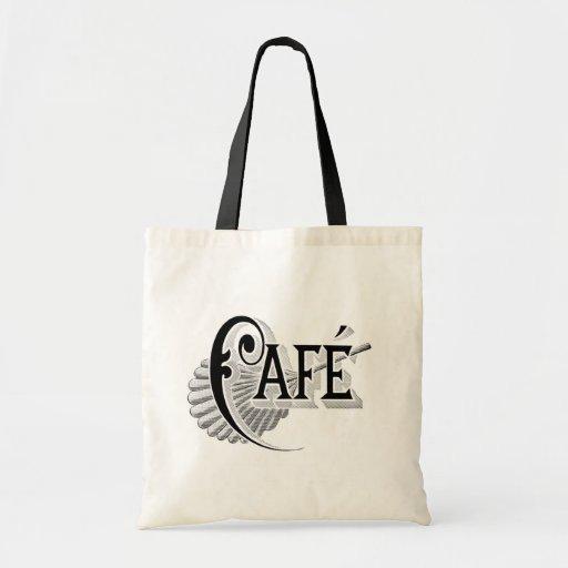 Art Nouveau French Cafe Coffee shop logo Canvas Bags