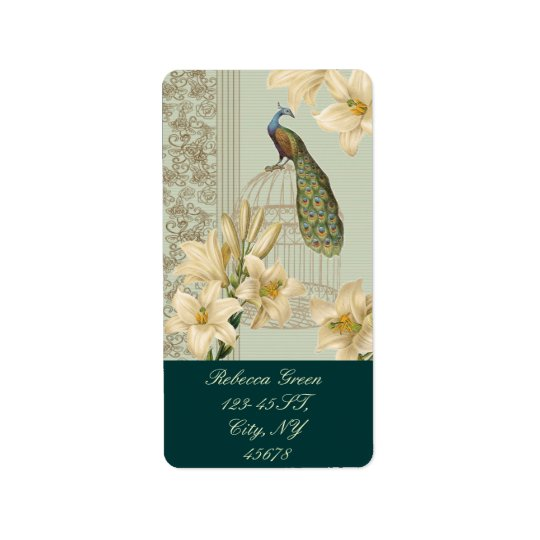 art nouveau  french lily vintage birdcage peacock address label