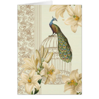 art nouveau  french lily vintage birdcage peacock card