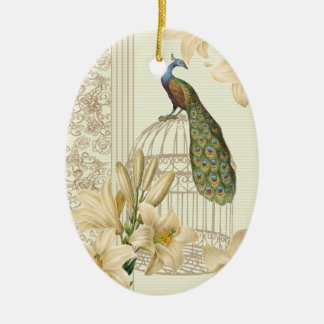 art nouveau  french lily vintage birdcage peacock christmas ornament