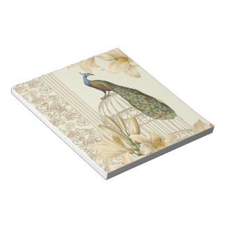 art nouveau  french lily vintage birdcage peacock notepad