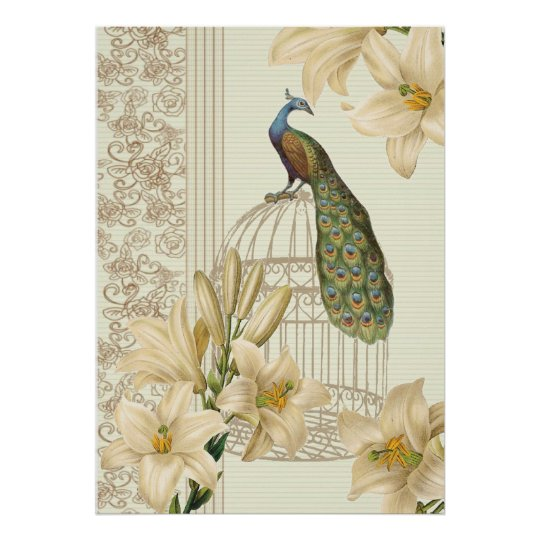 art nouveau french lily vintage birdcage peacock poster