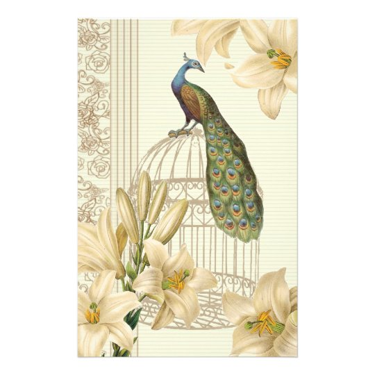 art nouveau french lily vintage birdcage peacock stationery