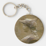 Art Nouveau French Medallion Basic Round Button Key Ring