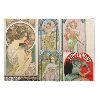 Art Nouveau French Women Art Mosaic Placemat