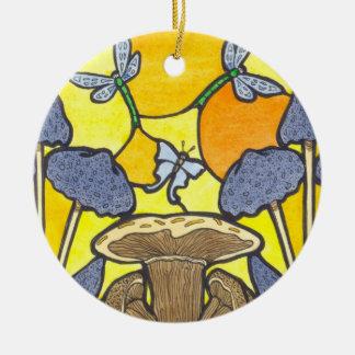 Art Nouveau Fungi Round Ceramic Decoration