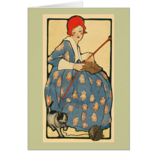 Art Nouveau -Girl knitting with her cat Card