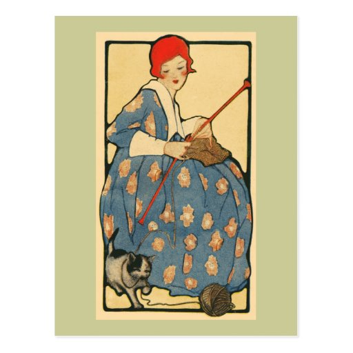 Art Nouveau -Girl knitting with her cat Post Card