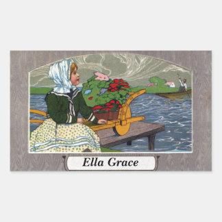 Art Nouveau Girl, Wheelbarrow, & Pier Rectangular Sticker