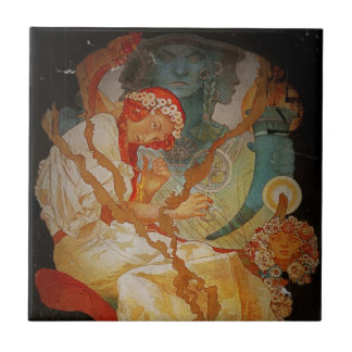 Art Nouveau Girl with Harp 1903 Small Square Tile