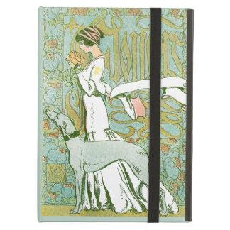 Art Nouveau Greyhound and Lady with Flower iPad Folio Case