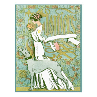 Art Nouveau Greyhound and Lady with Flower Postcard