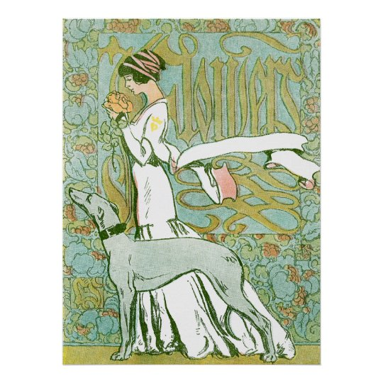 Art Nouveau Greyhound and Lady with Flower Poster