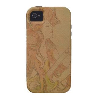 Art Nouveau Guitar Girl Vintage Peach iPhone 4 Case