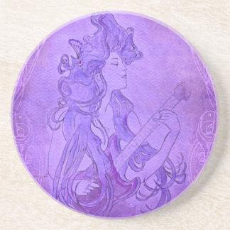 Art Nouveau Guitar Girl Vintage Purple Beverage Coasters