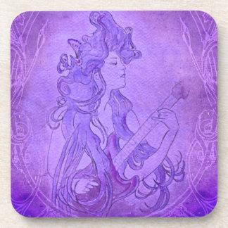 Art Nouveau Guitar Girl Vintage Purple Coaster