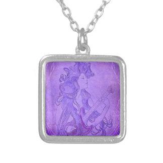 Art Nouveau Guitar Girl Vintage Purple Custom Necklace