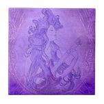 Art Nouveau Guitar Girl Vintage Purple Tiles