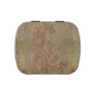 Art Nouveau Guitar Girl Vintage Tin Jelly Belly Candy Tins