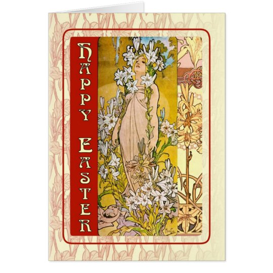 Art Nouveau Happy Easter Card