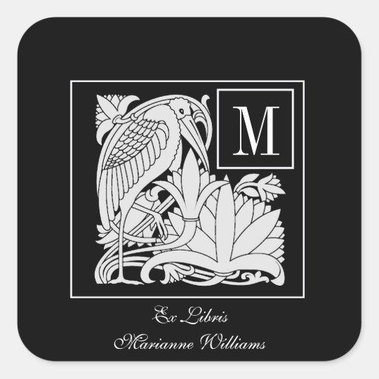 Art Nouveau Heron Monogram Bookplate Sticker