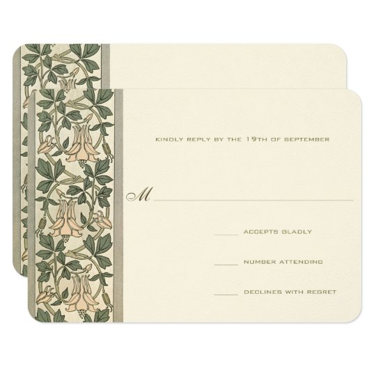 Art Nouveau Honey Suckle Wedding RSVP Card