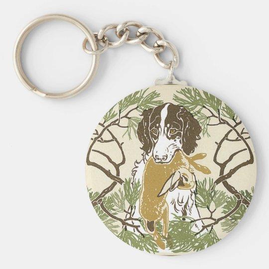 Art Nouveau Hunting Dog Illustration Basic Round Button Key Ring