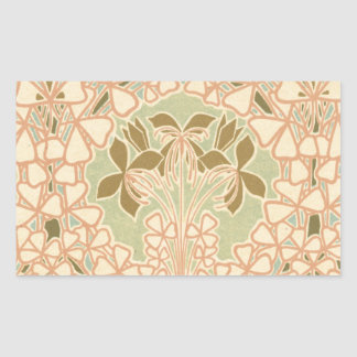 art nouveau intricate floral brown pattern rectangle sticker
