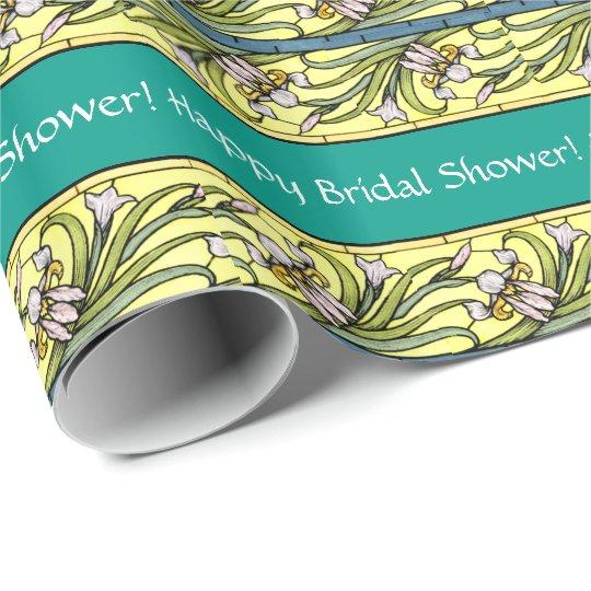 Art Nouveau Iris Floral Flowers Bridal Shower Wrapping