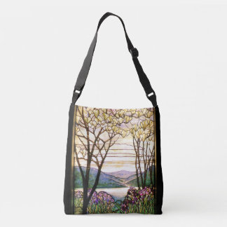 Art Nouveau Iris Flowers Floral Stained Glass Crossbody Bag