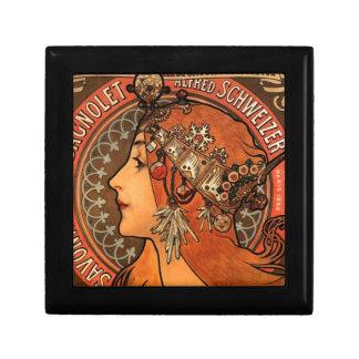 Art Nouveau Jewelled Lady Ceramic Tile Box Trinket Box