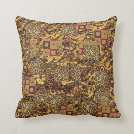 Art Nouveau Klimt Gold Brown Red Pillow
