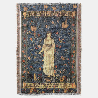 Art Nouveau Lady Birds Morris Floral Throw Blanket
