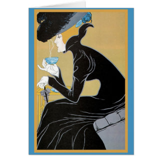 Art Nouveau Lady Drinking Tea Greeting Card