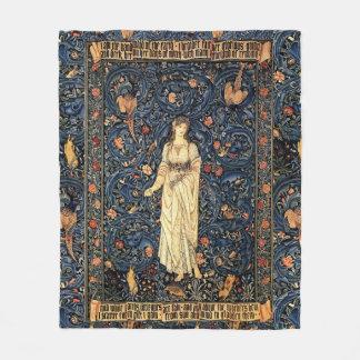 Art Nouveau Lady Flower Bird Rabbit Fleece Blanket