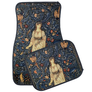 Art Nouveau Lady Flowers Birds Car Floor Mats