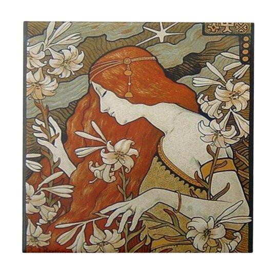 Art Nouveau Lady Flowers Floral Woman Vintage Small Square Tile