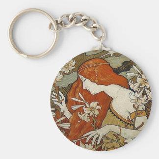 Art Nouveau Lady & Lilies Keychain