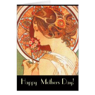 Art Nouveau Lady Mothers Day Card