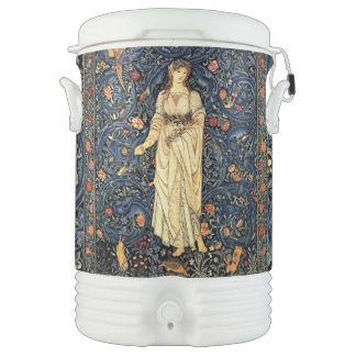 Art Nouveau Lady Rabbit Birds Flowers Igloo Cooler
